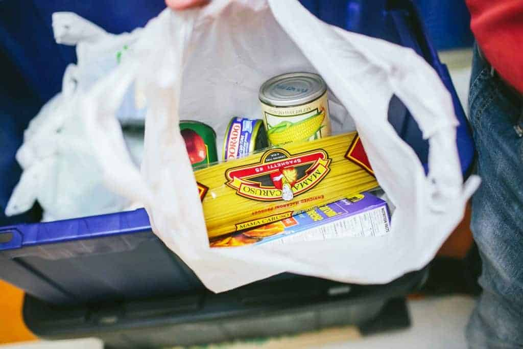 Non-perishable food inside The Sheridan Story food bag for children and families living with food insecurity