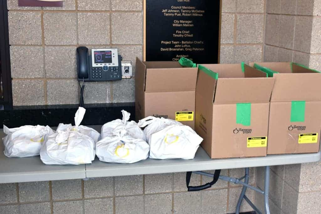 Food bags at the Roseville Fire Station