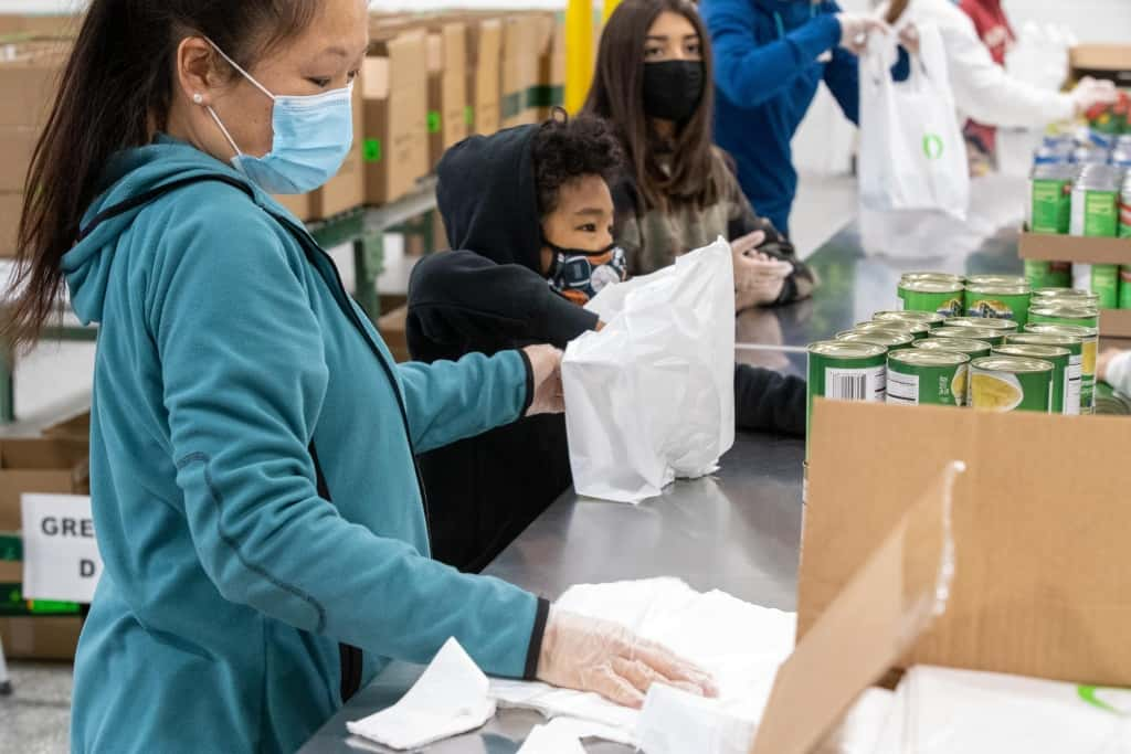 Assembly line during packing event